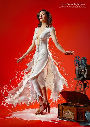 Modern Pin-Up Beauties Flaunt Dresses Made Out of Milk