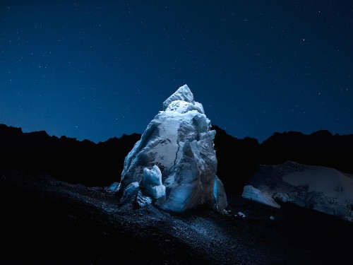 Breathtaking Beauty of Glaciers Illuminated by LED Drones at Night