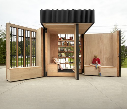 "Toronto's Giant ""Story Pod"" Unfolds into an Open-Air Library for Public Reading"
