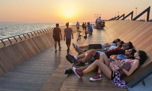 Architects Design Footbridge That Doubles as the Perfect Sunset Viewing Lounge