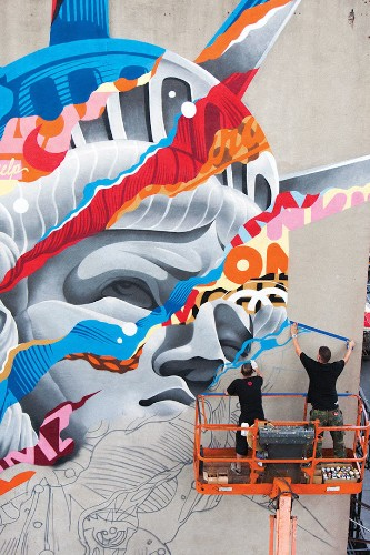 Colorful Image Mashups Form Vibrant Murals by Tristan Eaton