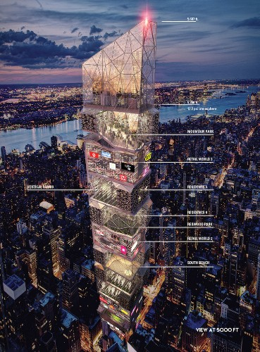 """Skyscraper Concept """"Times Squared 3015"""" Stacks Mountains and Malls in One Building"""