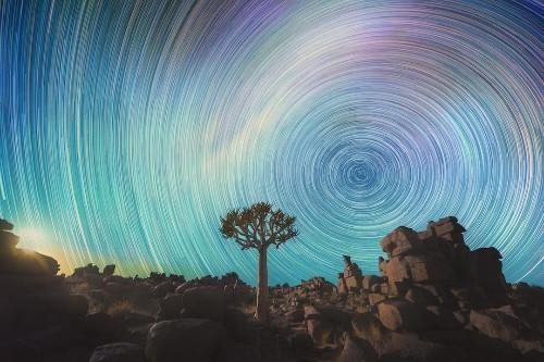 Long Exposure Photos Capture the Swirling Star Trails Across the Namib Desert