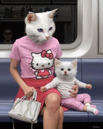 Paintings Reimagine NYC Subway Riders as Half-Human, Half-Animal Hybrids