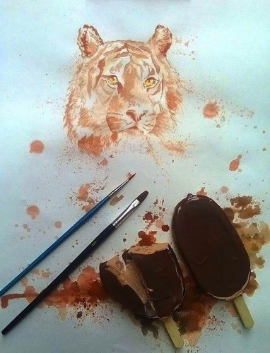 Artist Uses Melting Ice Cream as Medium to Create Unique Paintings