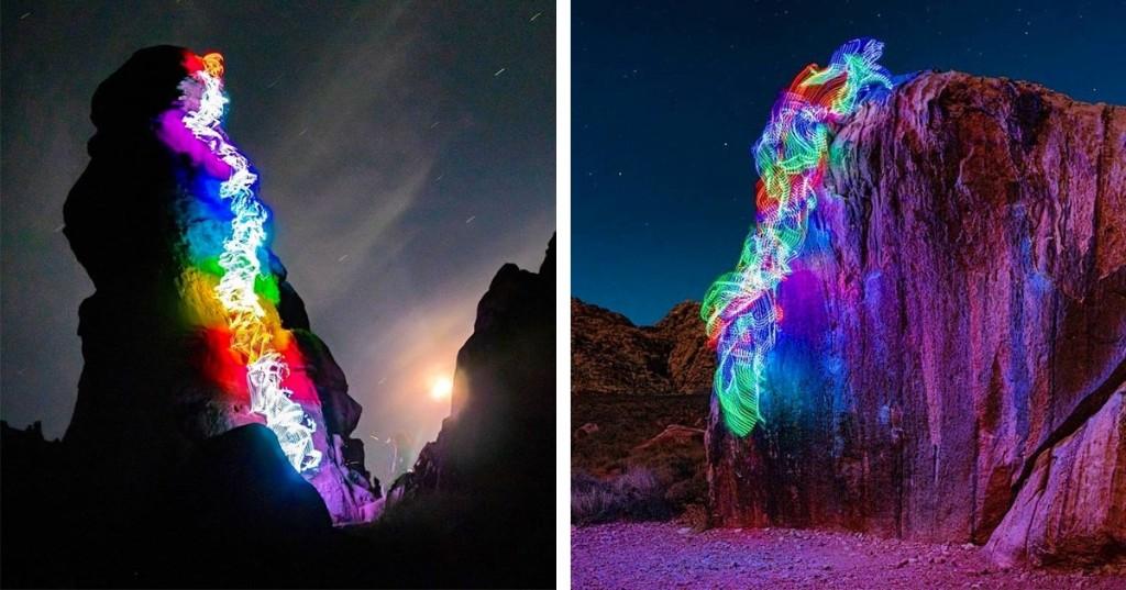Long-Exposure Photos Turn Rock Climbing Routes Into Epic Rainbow Bursts Across the Landscape