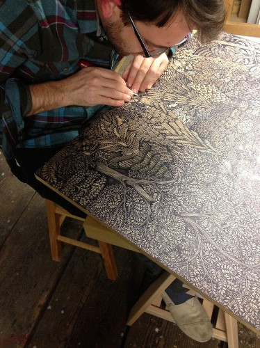 Artists Spent Two Years Carving Intricate Woodcut of Stunning Landscape