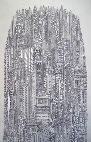 Highly Detailed Paintings of Overly Crowded Cities by Alexis Duque
