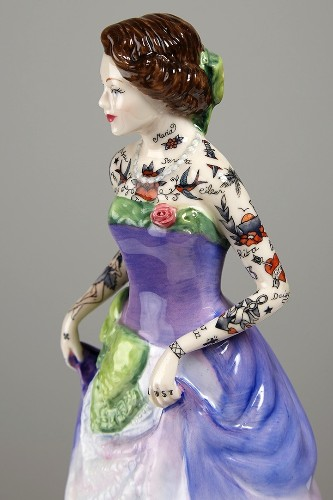 Traditional Porcelain Figurines Covered in Colorful Tattoos