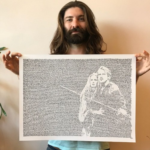 Artist Handwrites Entire Scripts to Create Unique Portraits of Movie Characters