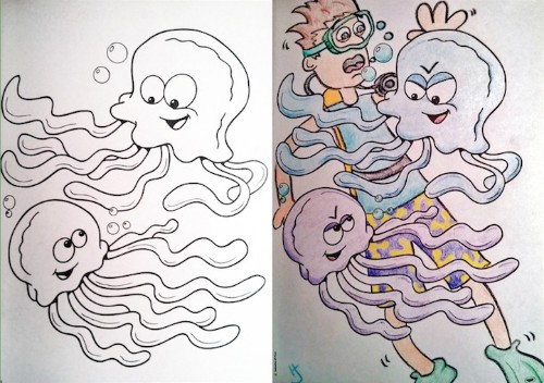 Hilarious Coloring Book Images Corrupted from an Adult's Perspective