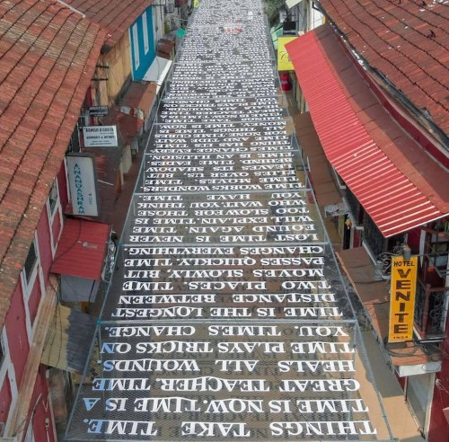 Sunlight on This Street Installation Casts Shadow Messages About Passage of Time