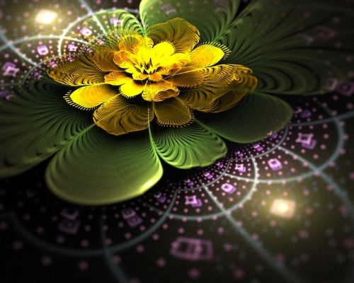 Detailed Digital Flowers Radiate with a Magical Glow