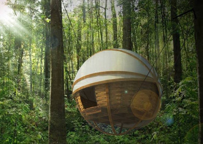 Hanging Spherical Lodges Provide Cozy, Eco-Friendly Retreat in the Forests of Laos