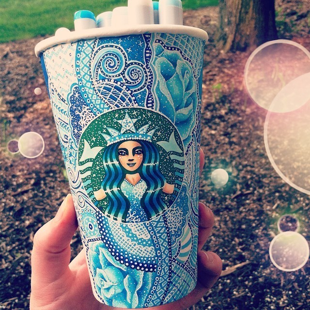 Artist Repurposes Starbucks Cups as Canvases for Colorful Creations
