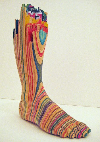 Artist Carves Stacked Skateboard Decks Into a Colorful Collection of Sculptures