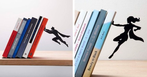 Superhero Bookends Float in Mid-Air to Save Your Books From Falling Over