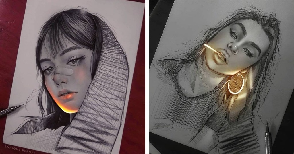 Artist Creates Pencil Drawings That Look Like They're Lit With Fluorescent Lights