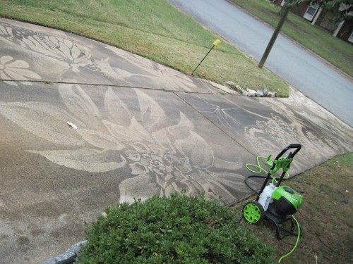 Woman Receives Power Washer for Birthday and Creates Stunning Artwork on Driveways
