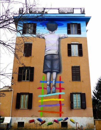 Seth Globepainter's Murals of Children Immersed in Colorful Galaxies