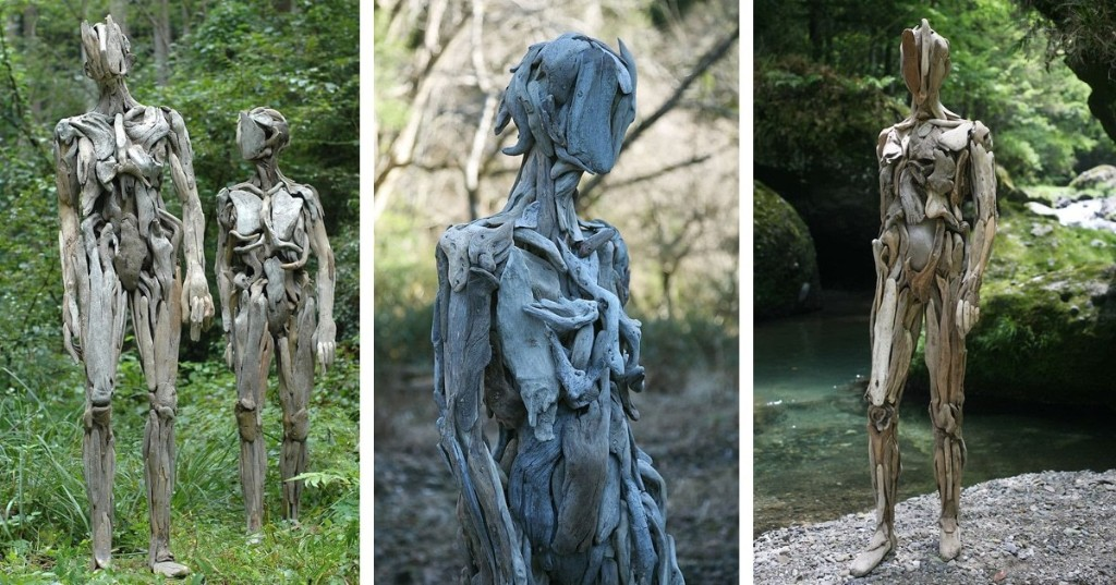Life-Sized Driftwood Sculptures Look Like Uncanny Characters From a Sci-Fi Movie