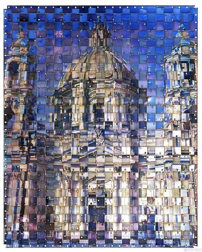 Strips of Film Woven Together to Create Fragmented Photos