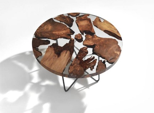 Sculptural Resin Table Is Made from 50,000-Year-Old-Wood