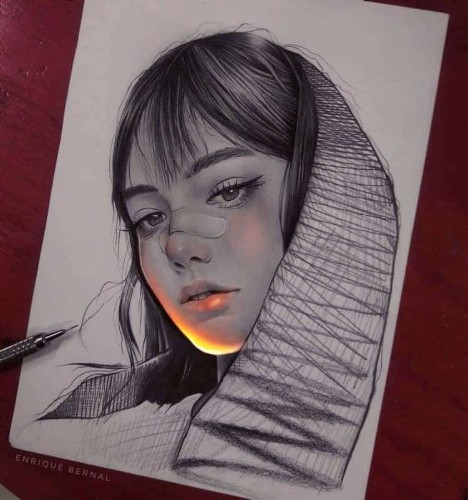 Artist Creates Pencil Drawings That Look Lit With Fluorescent Lights