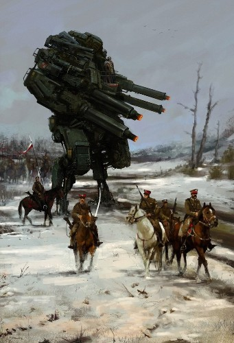 Creative Digital Paintings Blend Mechs Into Early 20th-Century Polish Villages