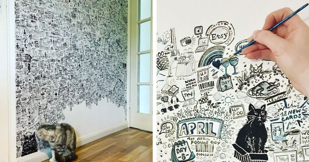 Artist Spends 113 Days Covering a Wall in Her Home With Doodles About Life During COVID-19 Quarantine