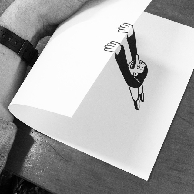 Simple Paper Folds Create Fantastic Illusions of Drawings Brought to Life