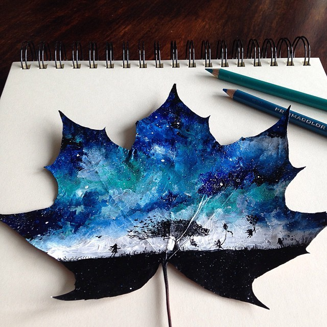 Artist Uses Leaves as Autumnal Canvases for Delicate Paintings