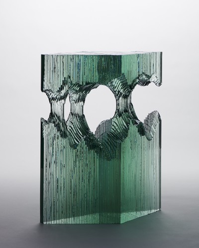Sheets of Glass Cut and Layered to Form Stunning Sculptures of Ocean Waves