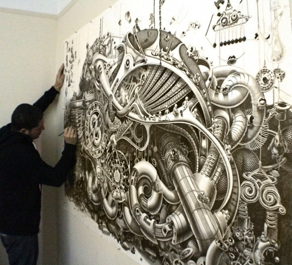 Gigantic Drawing Features Tiny Details of a Fantastic World