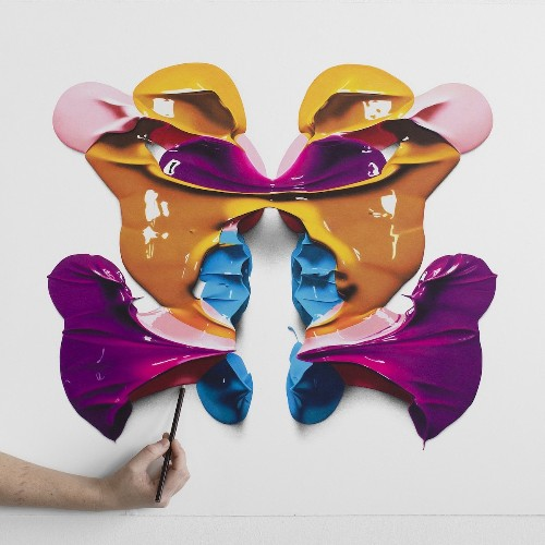 These Giant Rorschach Paint Blots Are Actually Colored Pencil Drawings
