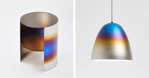 "Design Studio Burns Metal to Create Sophisticated Home Decor with Iridescent ""Scars"""
