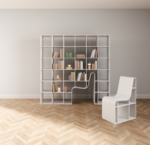 'Bookchair' Doubles as Shelving and Seating with Chair That Blends into Bookcase