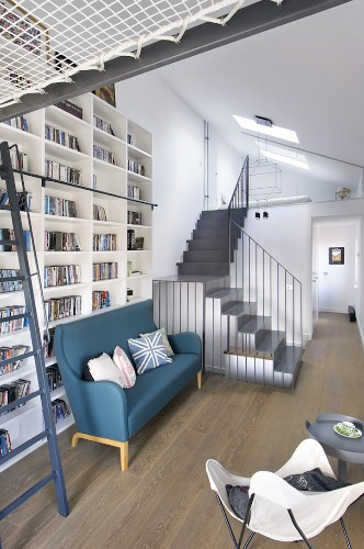 1950's Home Redesigned as a Cozy Haven for People Who Love to Read