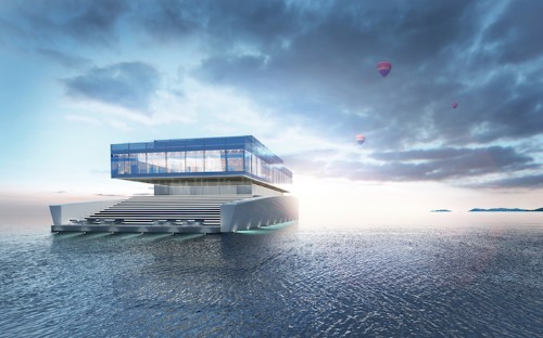 Beautifully Minimalist Luxury Yacht Made of Stacked Levels of Glass