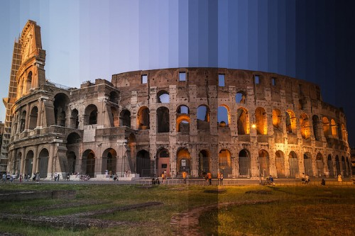 Multiple Photos of Iconic Places Taken Over Time are Sliced into Single Images