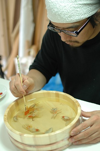 New Layered Resin Goldfish Paintings by Riusuke Fukahori