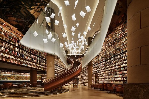 Chinese Bookstore's Chandeliers Look Like Sheets of Paper Floating in Mid-Air