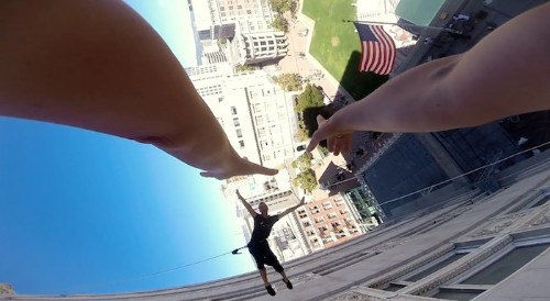 Aerial Dancers Perform Elegant Vertical Waltz on the Side of Oakland's City Hall
