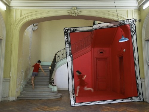 Playful Anamorphic Illusions of Life-Size Picture Frames