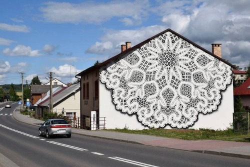 Exquisite Bobbin Lace Mural Adds a Delicate Touch to a Blank Facade