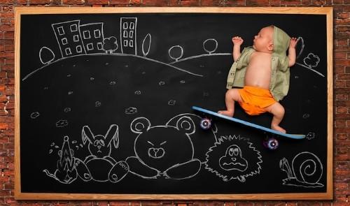 Mother Creates Baby's Adorable Blackboard Adventures