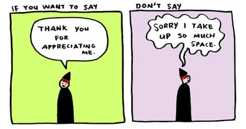 """Simple Illustrations Reveal the Positive Power of Saying """"Thank You"""" Instead of """"Sorry"""""""