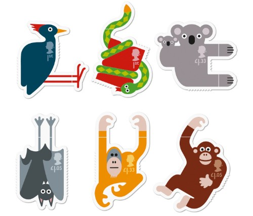 """Playful Animal Stamps Wrap Around Sides of Envelope to """"Hang"""" on Your Every Word"""