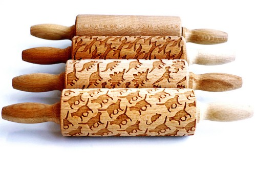 Laser-Engraved Rolling Pins Imprint Whimsical Designs onto Cookie Dough