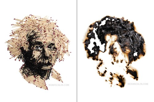 Detailed Portraits of Scientists Constructed Out of Hundreds of Matchsticks